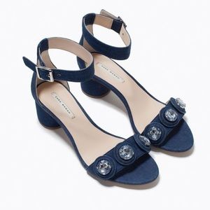 Zara Denim Jewel Embellished Sandals